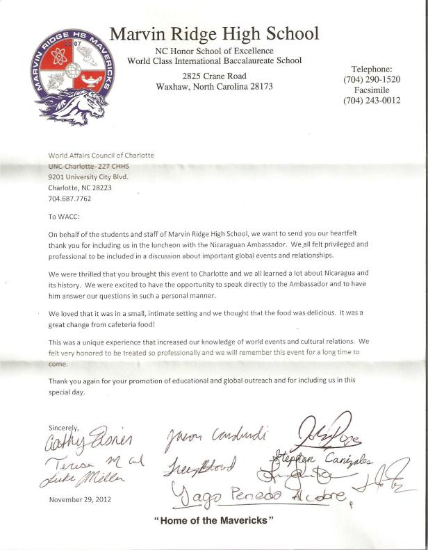 Letter from Students at Marvin Ridge High School (Union County Public Schools)