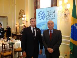Bob Holcombe, Chairman of the World Affairs Council of Charlotte with Brazilian Ambassador Mauro Vieira at the WACC Ambassadors Circle Series