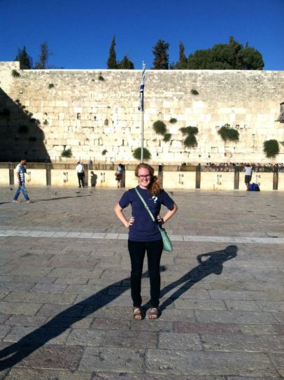 Jamie Smith in front of the Western Wall